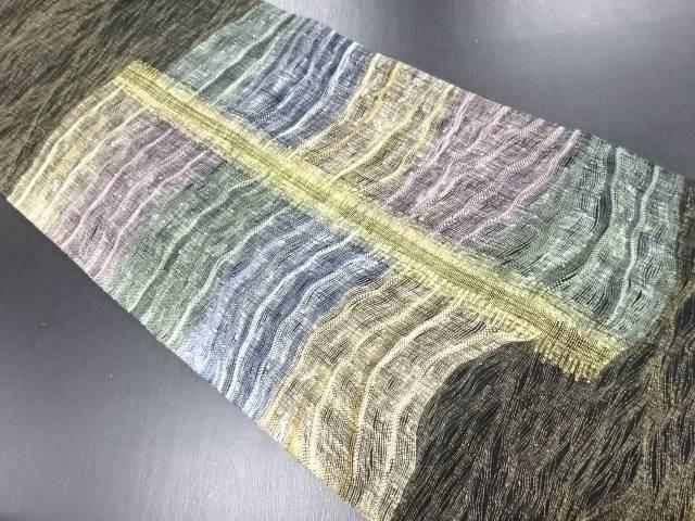 【IDN】 金通しすくい織よろけ横段織り出しリバーシブル袋帯【リサイクル】【中古】【着】