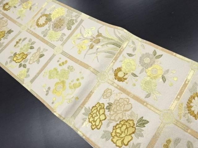 【IDN】 未使用品 本金格天井に四季草花模様織り出し袋帯【リサイクル】【着】