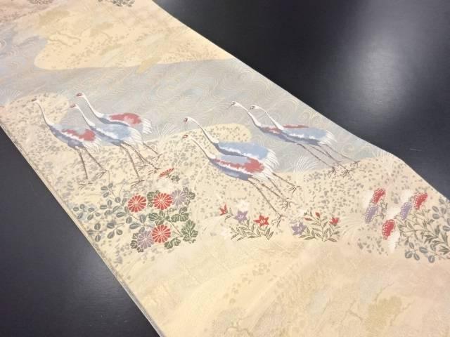 【IDN】 本金鶴に松・秋草模様織り出し袋帯【リサイクル】【中古】【着】