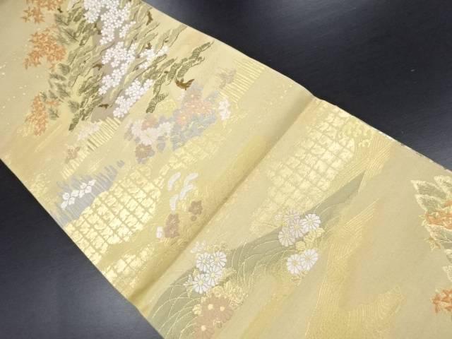 【IDN】 未使用品 本金松に桜菊菖蒲模様織り出し袋帯【リサイクル】【着】