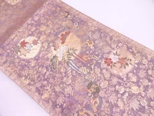 【IDN】 宝づくしに松・花模様織出し袋帯【リサイクル】【中古】【着】