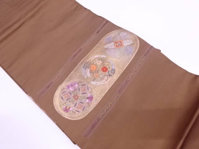 【IDN】 横段に花七宝・松模様刺繍名古屋帯【リサイクル】【中古】【着】