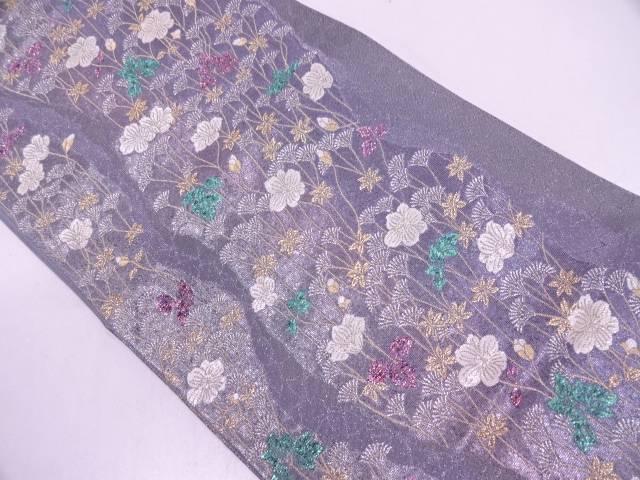 【IDN】 よろけ縞に草花模様織出し袋帯【リサイクル】【中古】【着】