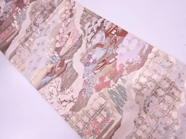 【IDN】 屋敷に草花模様織出し袋帯【リサイクル】【中古】【着】