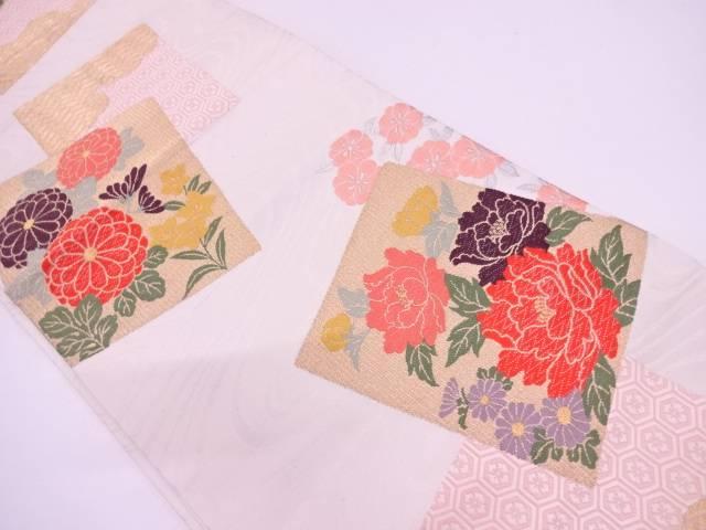 【IDN】 つづれ錦唐織色紙に牡丹・菊模様織出し袋帯【リサイクル】【中古】【着】