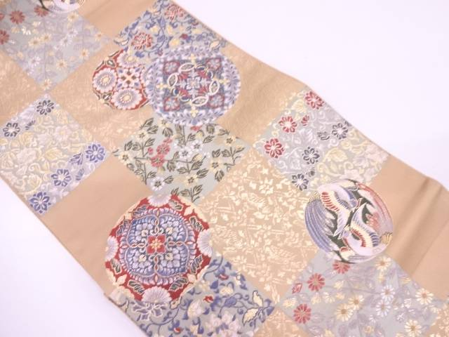 【IDN】 変わり市松に花鳥模様織出し袋帯【リサイクル】【中古】【着】