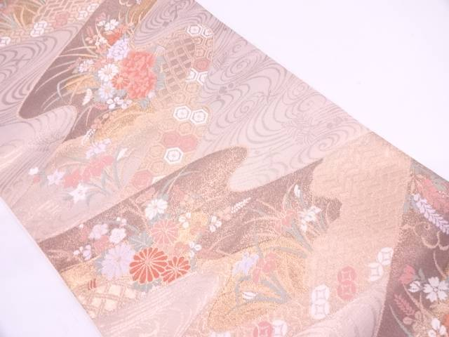 【IDN】 未使用品 流水に草花・古典柄模様織出し袋帯【リサイクル】【着】