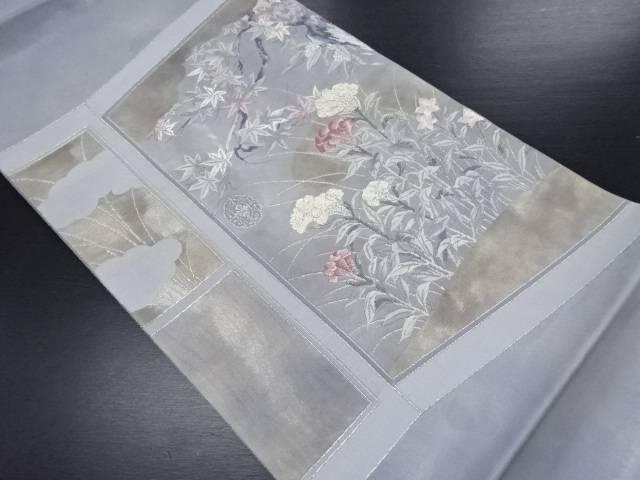 【IDN】 引き箔秋草模様刺繍袋帯【リサイクル】【中古】【着】