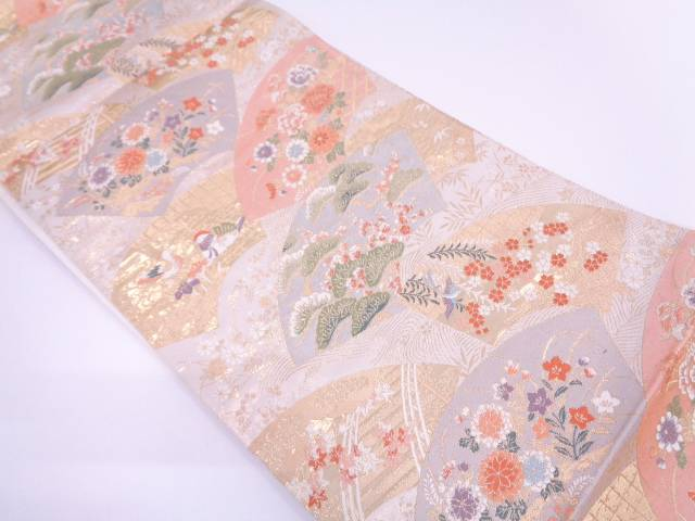 【IDN】 本金箔地紙に花鳥模様織出し袋帯【リサイクル】【中古】【着】