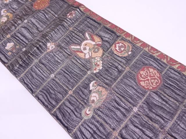 【IDN】 本金箔格子に花鳥模様織出し袋帯【リサイクル】【中古】【着】