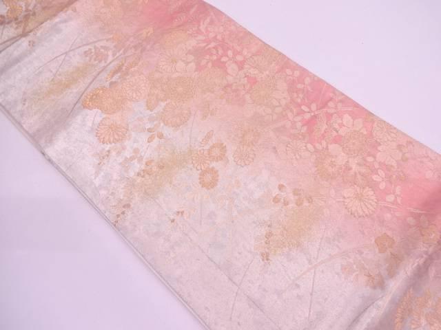 【IDN】 引き箔草花模様織出し袋帯【リサイクル】【中古】【着】