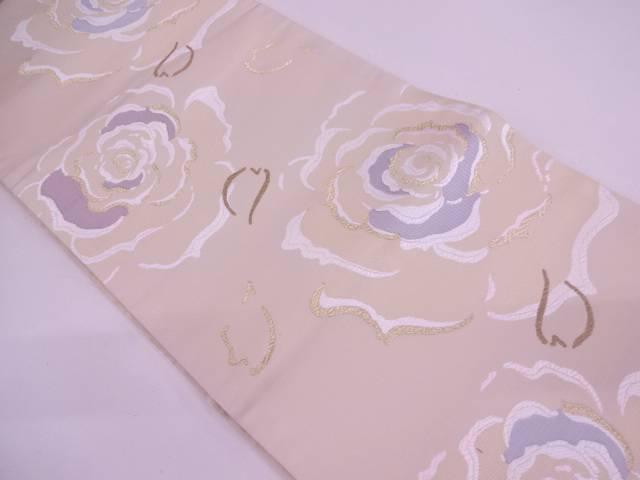 【IDN】 未使用品 薔薇模様織出し袋帯【リサイクル】【着】