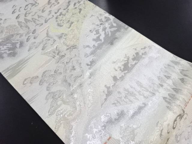 【IDN】 銀糸遠山に家屋模様織り出し袋帯【リサイクル】【中古】【着】