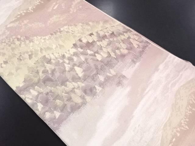 【IDN】 遠山に樹木模様織り出し袋帯【リサイクル】【中古】【着】