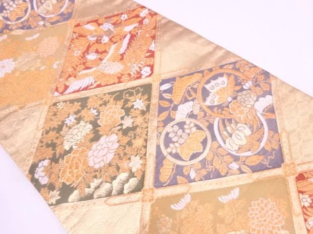 【IDN】 格天井に鳳凰・草花模様織出し袋帯【リサイクル】【中古】【着】