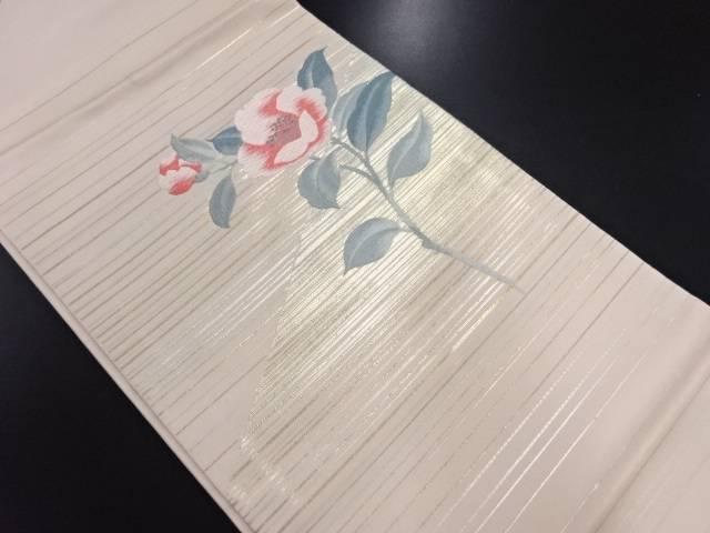 【IDN】 未使用品 横段に枝花模様織り出し名古屋帯【リサイクル】【着】