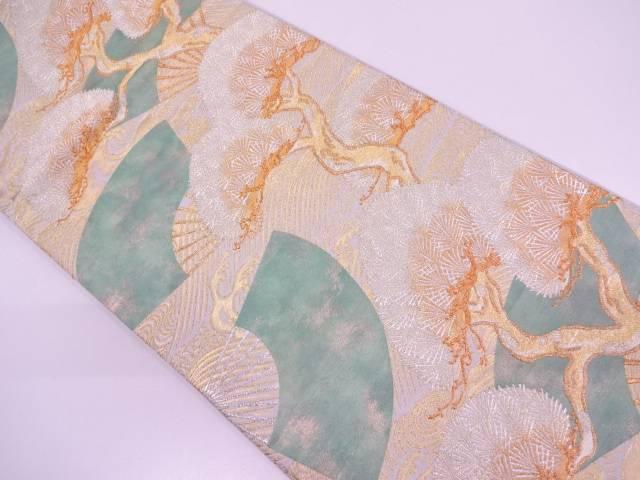 【IDN】 松に扇模様織出し袋帯【リサイクル】【中古】【着】