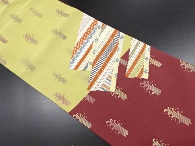 【IDN】 横段に抽象草葉模様織り出し袋帯【リサイクル】【中古】【着】