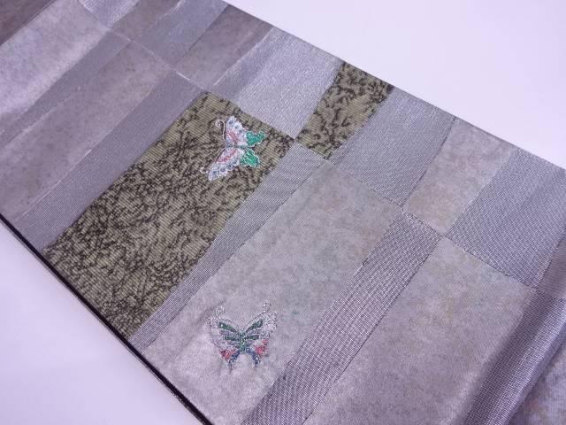 【IDN】 青銅箔変わり市松に蝶模様織出し袋帯【リサイクル】【中古】【着】