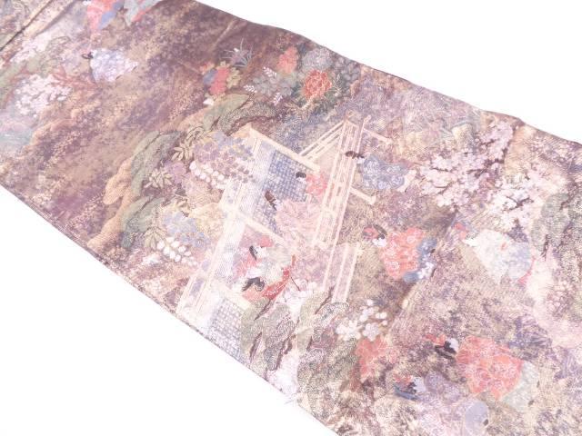 【IDN】 屋敷に時代人物・風景模様織出し袋帯【リサイクル】【中古】【着】