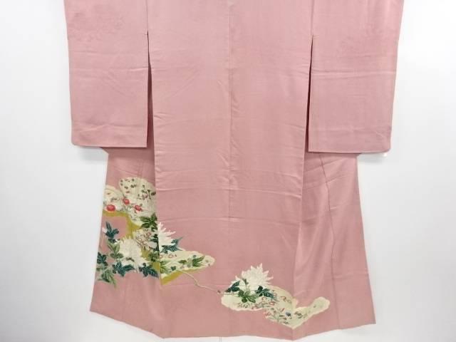 【IDN】 雲取に牡丹・菊模様一つ紋着物【大正ロマン】【中古】【着】