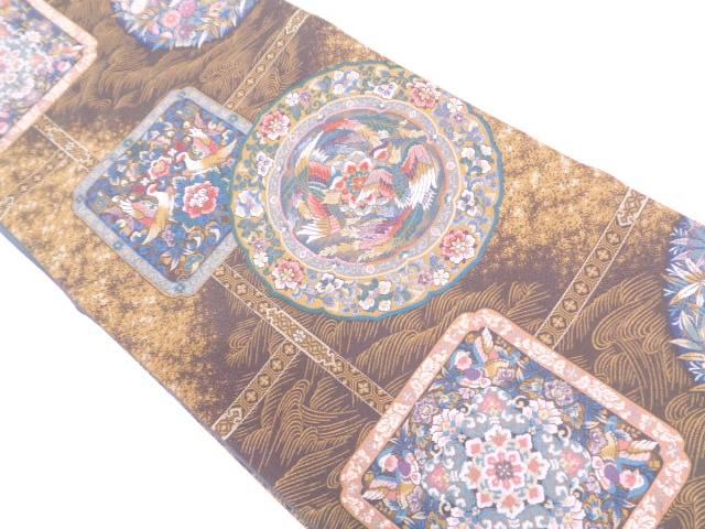 【IDN】 絵皿に花鳥模様織出し袋帯【リサイクル】【着】 未使用品