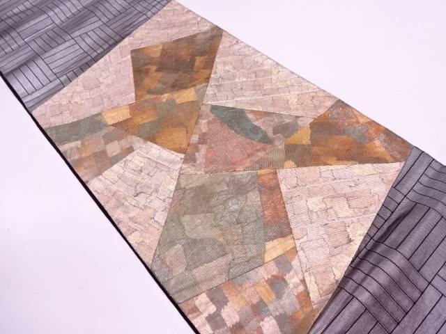 【IDN】 切り嵌め抽象模様織出し袋帯【リサイクル】【中古】【着】