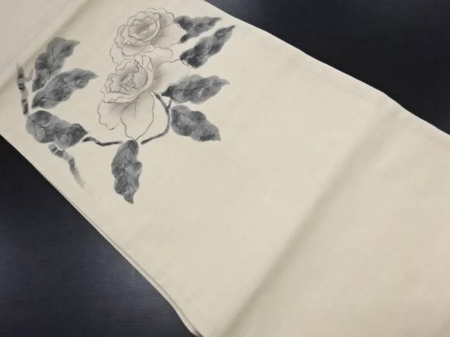 【IDN】 手織り紬手描き牡丹模様名古屋帯【リサイクル】【中古】【着】