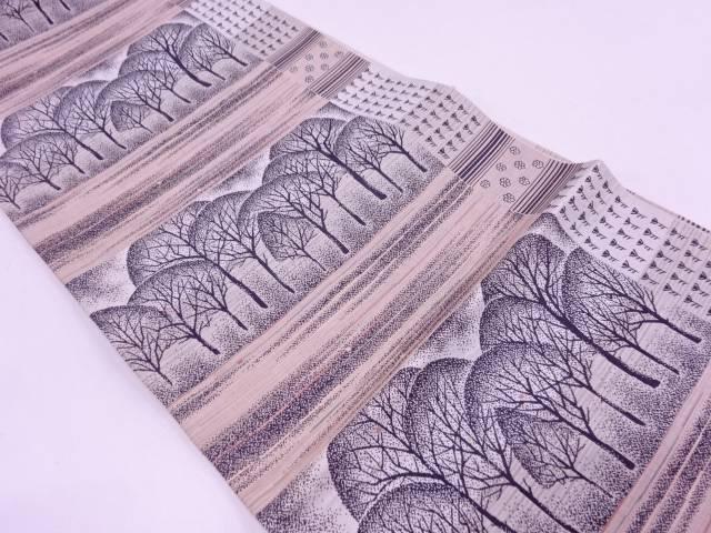 【IDN】 未使用品 横段に樹木模様織出し袋帯【リサイクル】【着】