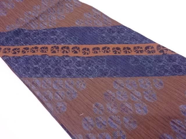 【IDN】 未使用品 手織り紬切嵌絞り斜め縞模様全通袋帯【リサイクル】【着】