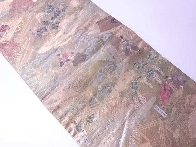 【IDN】 フォーマル用袋帯 金箔金糸 伊勢物語 全通柄【リサイクル】【中古】【着】