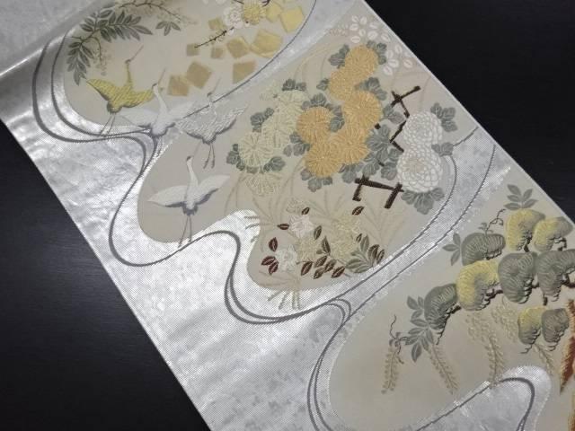 【IDN】 本銀箔鶴に菊・枝梅・松藤模様織り出し袋帯【リサイクル】【中古】【着】