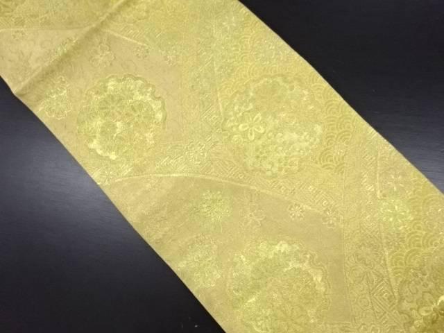 【IDN】 本金 雪輪に花古典柄織り出し袋帯【リサイクル】【中古】【着】