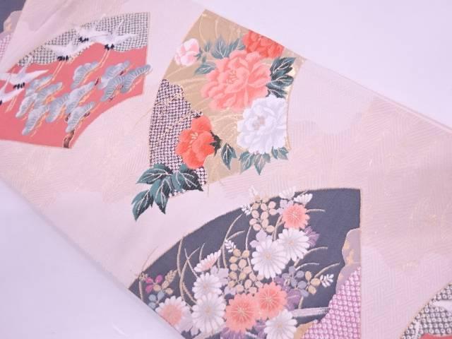 【IDN】 本金箔地紙に松鶴・牡丹模様織出し袋帯【リサイクル】【中古】【着】