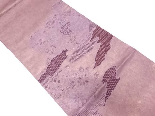 【IDN】 未使用品 汕頭相良刺繍霞に草花模様袋帯【リサイクル】【着】