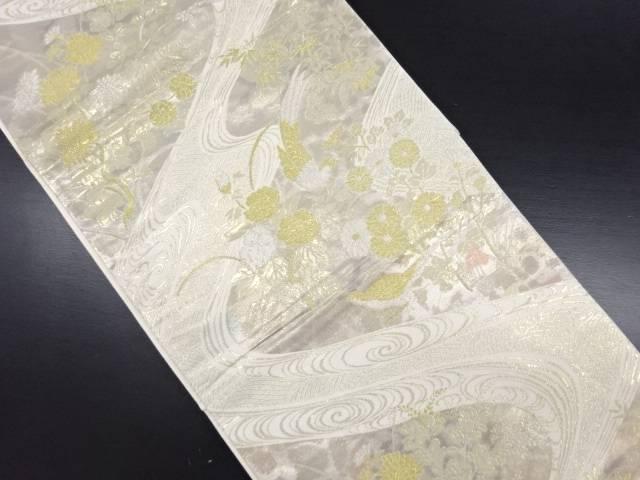 【IDN】 本金 流水に尾長鳥・牡丹・菊模様織り出し袋帯【リサイクル】【中古】【着】