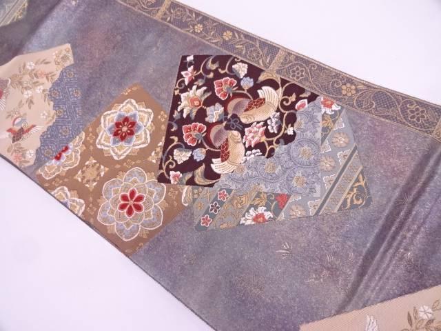 【IDN】 引箔重ね色紙に向かい鳥・華紋模様織出し袋帯【リサイクル】【中古】【着】