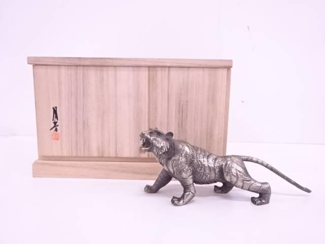 【IDN】 須賀月芳造 洋銀製白虎置物【中古】【道】