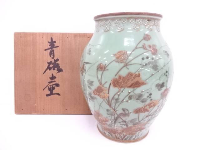 【IDN】 古物 青磁金彩色絵花鳥飾り壺【中古】【道】
