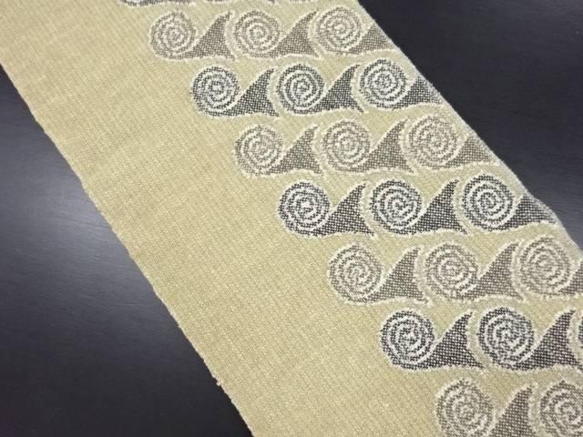 【IDN】 生絹渦巻き模様織り出し名古屋帯【リサイクル】【中古】【着】