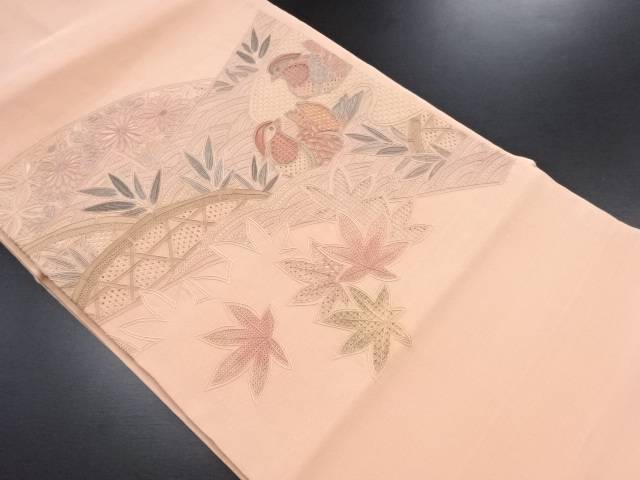 【IDN】 汕頭蘇州刺繍紅葉に鴛鴦模様名古屋帯【リサイクル】【中古】【着】