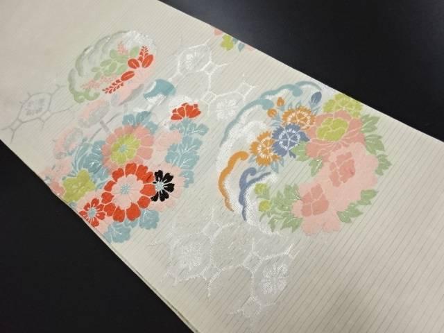 【IDN】 絽波丸紋に花模様織り出し丸帯【大正ロマン】【中古】【着】