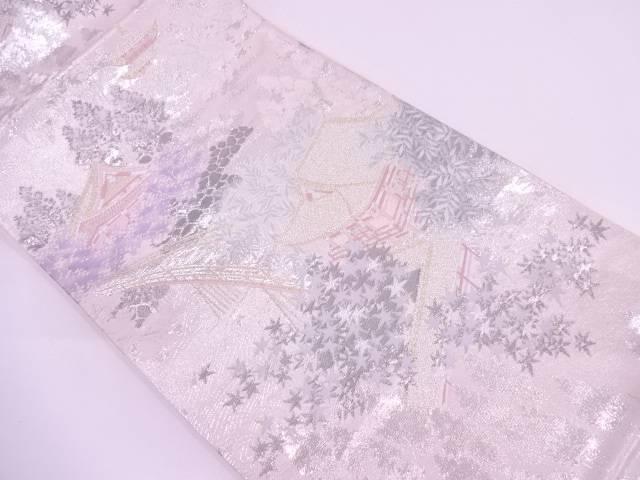 【IDN】 プラチナ箔二重織天竜寺風景模様織出し袋帯【リサイクル】【中古】【着】