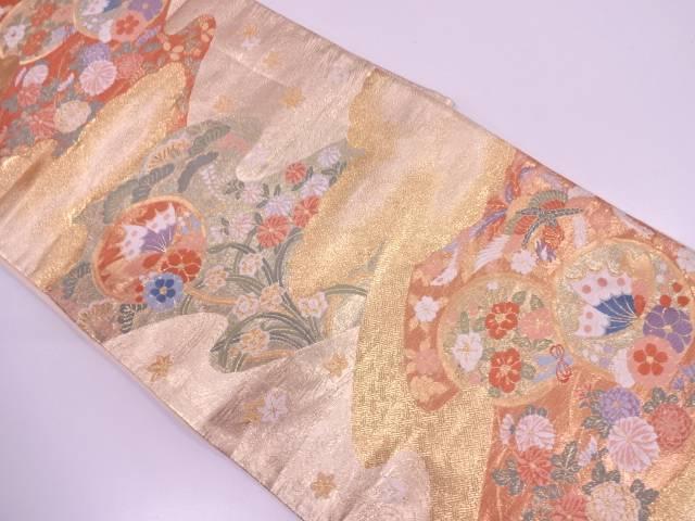 【IDN】 流水に花鳥・蝶模様織出し袋帯【リサイクル】【中古】【着】