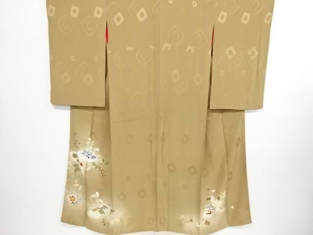 【IDN】 紋錦紗南天に地紙模様刺繍一つ紋着物【大正ロマン】【中古】【着】