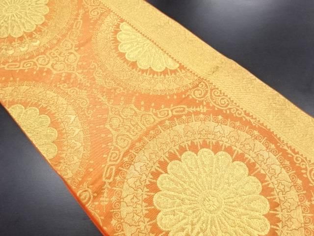 【IDN】 川島織物製 金糸 華紋に花更紗模様織り出し袋帯【リサイクル】【中古】【着】