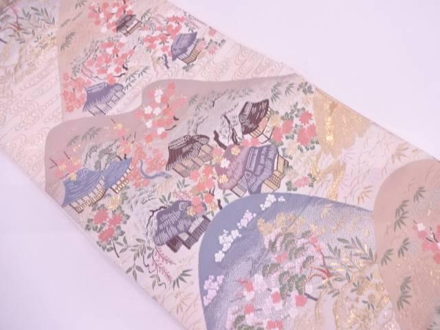 【IDN】 24純金箔山並みに家屋風景模様織出し袋帯【リサイクル】【中古】【着】