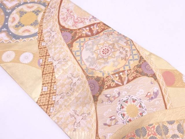 【IDN】 引箔華紋に花鳥模様織出し袋帯【リサイクル】【中古】【着】
