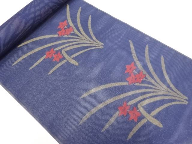 【IDN】 B反 紗桔梗模様織り出し名古屋帯地反物【リサイクル】【中古】【着】