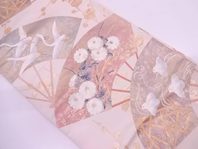 【IDN】 扇に花鳥模様織出し袋帯 【リサイクル】【中古】【着】